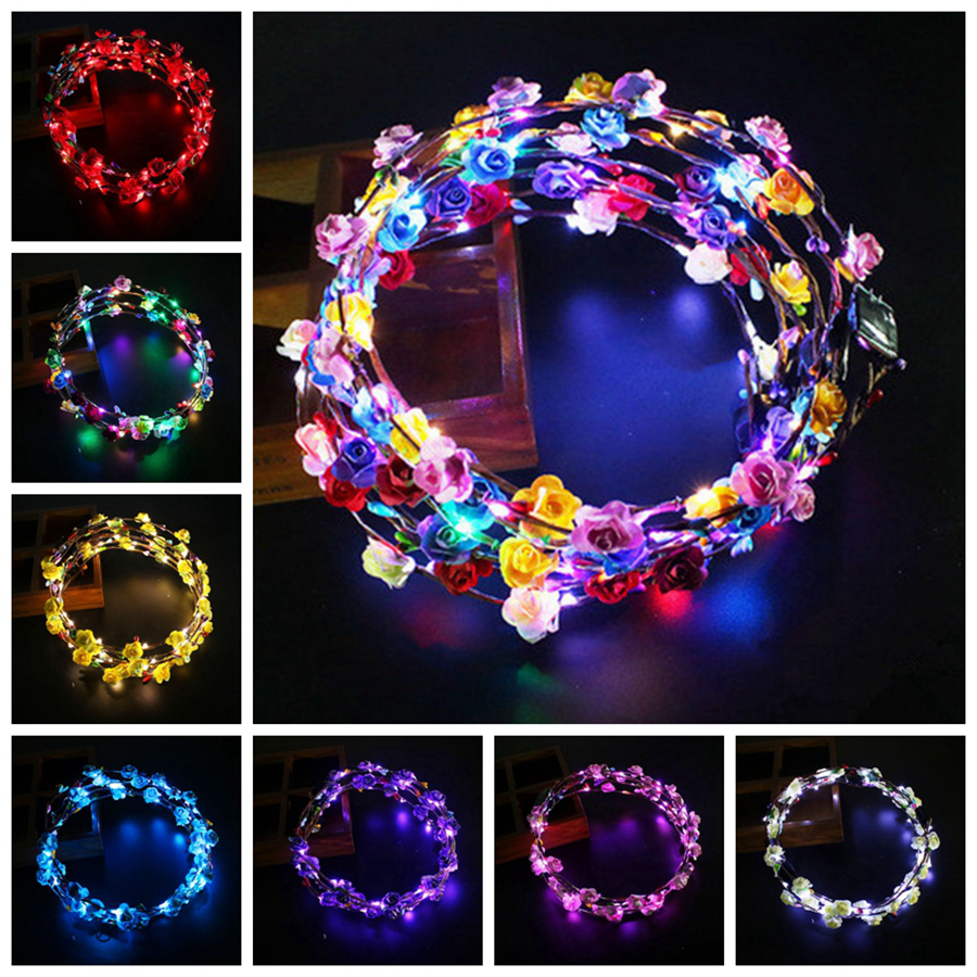 10PCS Flower Wreath Hairband Glow Headpiece Concert Party Accessory for Night Clubs Halloween Christmas XMAS Wedding Cosplay LED Light Up Flashing Headband Luminous Headdress Glowing Hairband