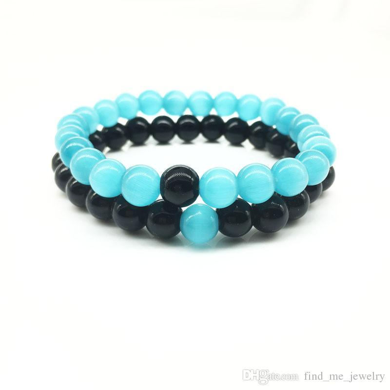 2017 Wholesale Handmade Blue stone matte yoga set Buddha Beads Bracelet Natural Stone Volcanic Rock Bracelets for Men Women Jewelry