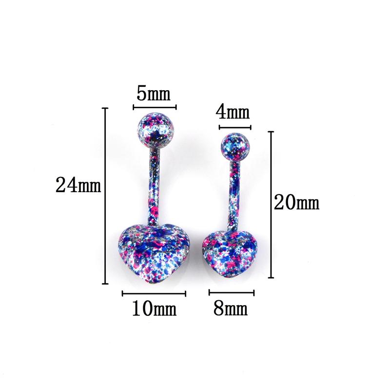 H: гайд 10шт пластиковые красочные нос кольцо форма сердца ниппель кликер уха хрящ козелка спирали губы пирсинг унисекс моды Jewelr