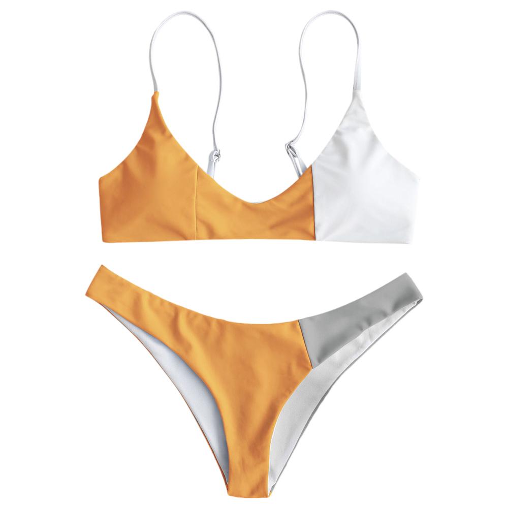 Zaful Patchwork Color Block Summer Women 2019 Bikini Push Up Swimsuit Bikini Low Waist Promotion Swimsuit Promotion Biquini Set Y19062801