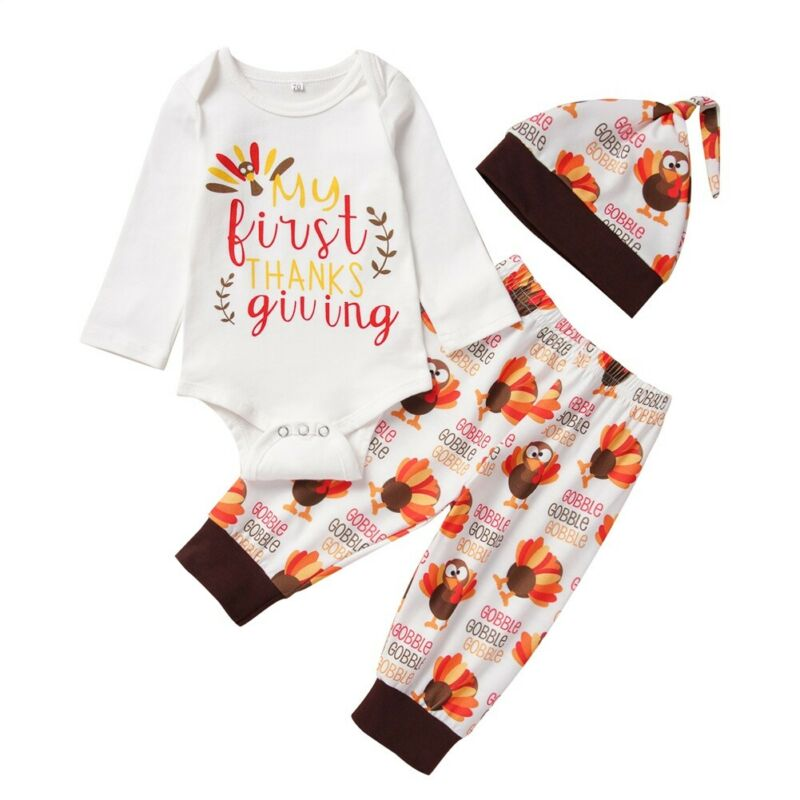 Thanksgiving Turkey Clipart Newborn Infant Baby Short Sleeve Romper Bodysuit Tops 0-24M
