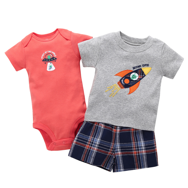 summer 2019 baby boy outfit short sleeve T-shirt tops+romper+plaid shorts infant clothing newborn clothes set new born suit