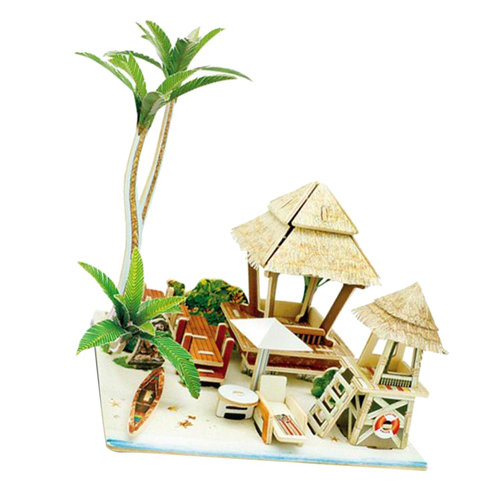 1/24 Dollhouse Model -3D Jigsaw Puzzle Wood Miniature DIY Making Handcraft Educational Toys - Bali Life Scene Model
