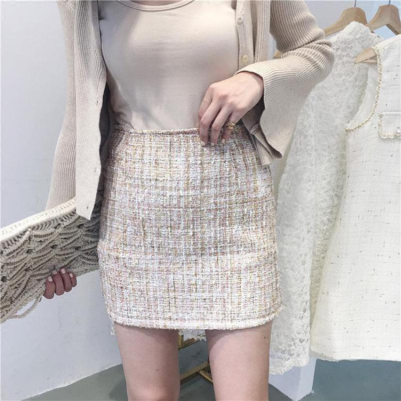 Envío gratis Moda de primavera Pequeño Estilo Fresco Lentejuelas Tweed Falda Lápiz de Cintura Alta Bolsa Hip Falda Todo-fósforo Mini Falda