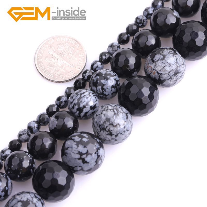 New 15/'/' Natural Snowflake Obsidian Gemstone Stone Spacer Loose Beads 4//6//8//10MM