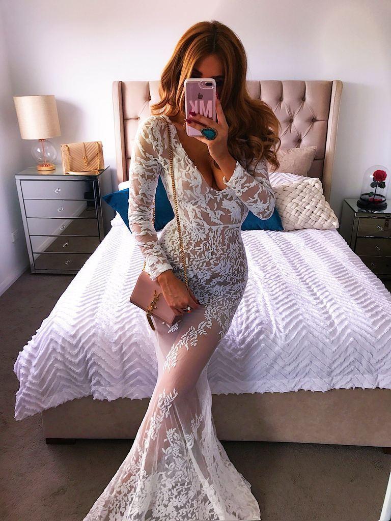2019 Novo Padrão Terno-vestido Desejo Sexy V Chumbo Lace Perspectiva Vestido Longuette