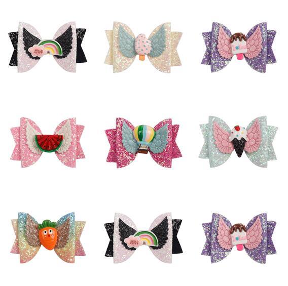 1PC Girls Sequin Hair Bow Glitter Alligator Clips Kids Headwear Accessories Lp
