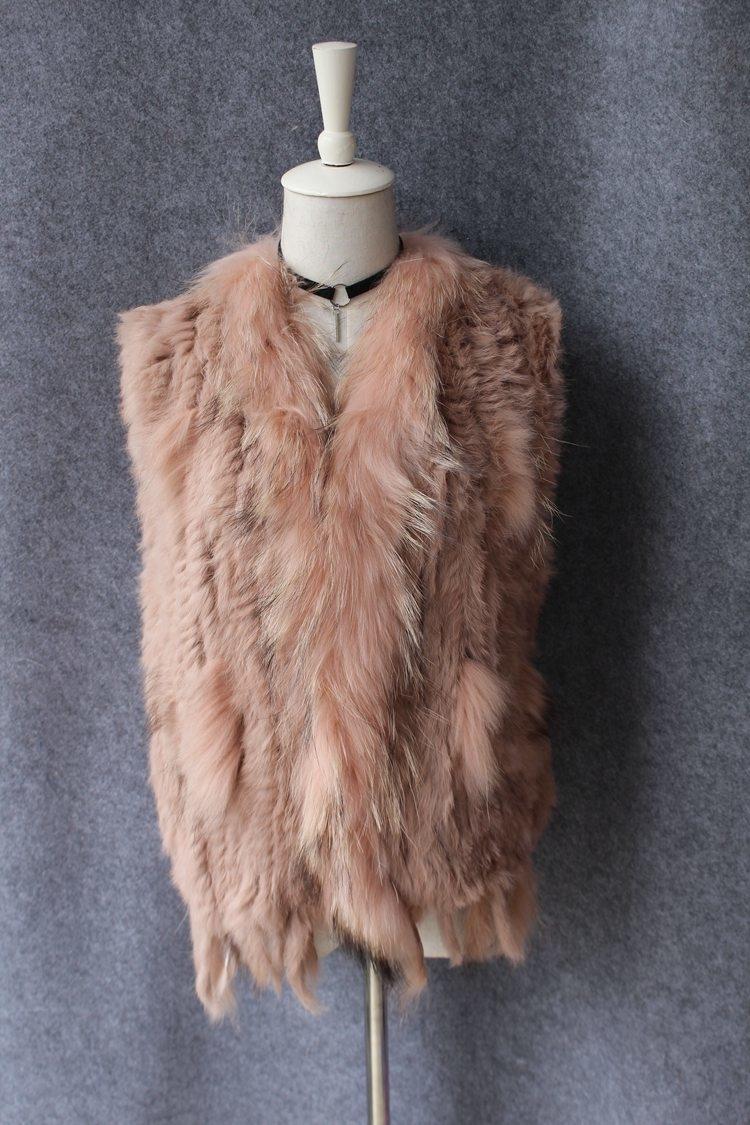 genuine real rabbit fur vest with raccoon fur collar (13)