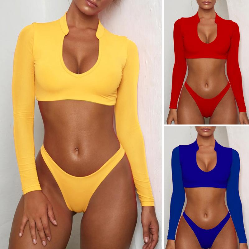 Bikinx Long Sleeve Brazilian Bikini High Cut White Swimsuit Thong Swimwear Women Bathers Micro Bikini 2019 Mesh Swimming Summer Y19052101