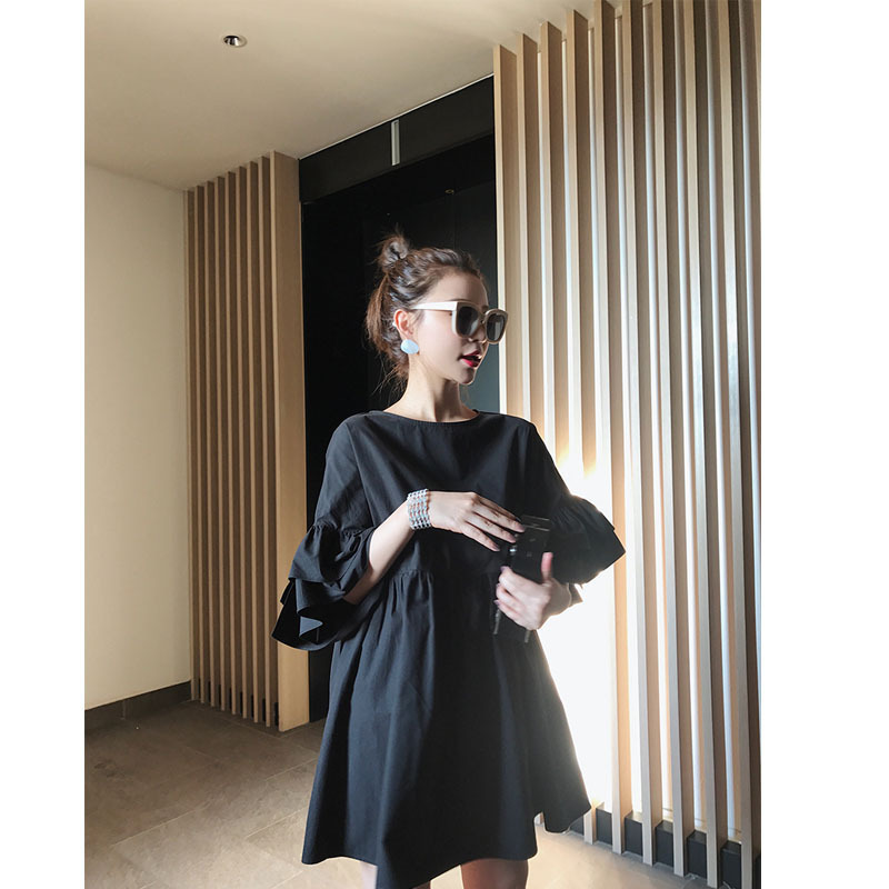 Love2019 Red With Ins Exceed Fire Real Double-deck Fungus Edge The Sleeve Doll Dress Woman Summer Word Short Skirt A Piece Of Hair