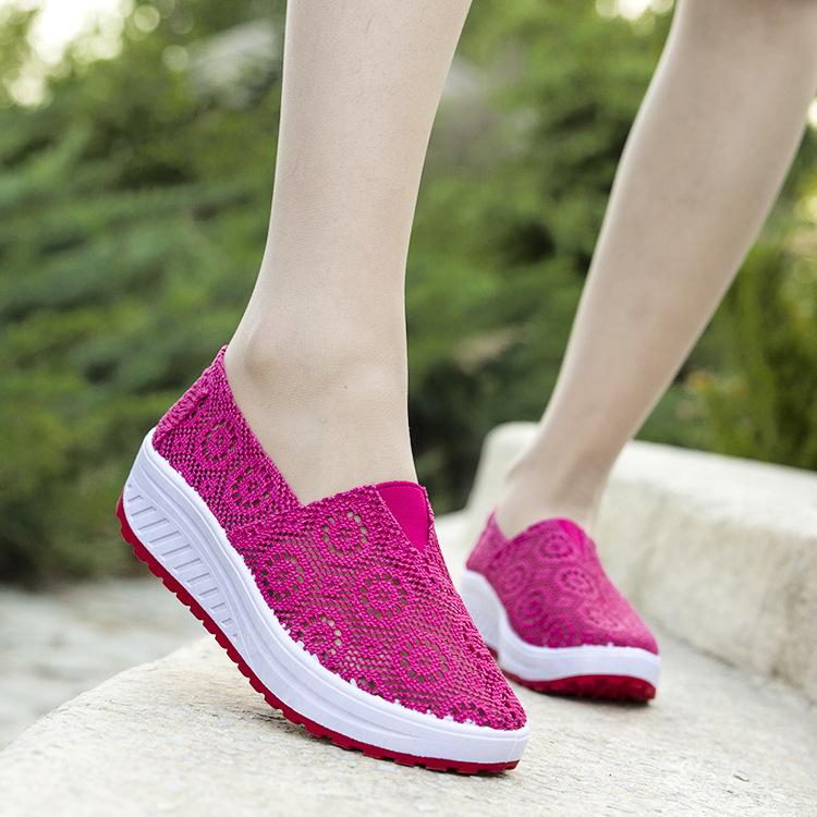 Fairy2019 Incremento En la parte inferior Superalto para mujeres con desodorización temblorosa Ventilación Neta Zapatos Tiempo libre Zapato de torta de esponja