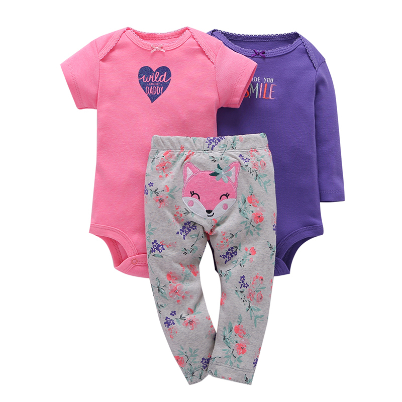 2018 newborn baby girl clothes cotton o-neck romper+animal fox pants 3pcs clothing set smile letter with heart print casual