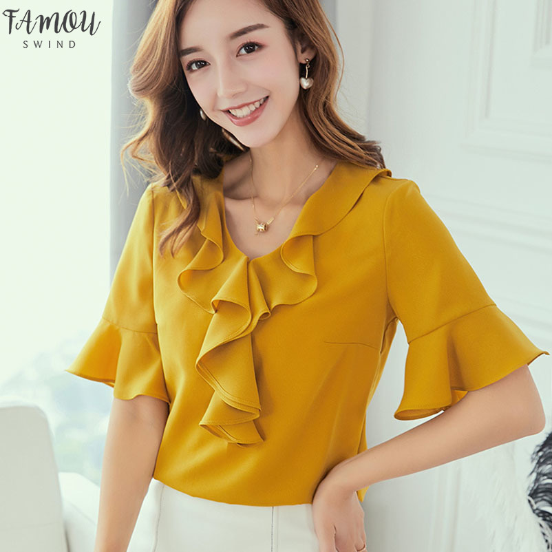 2020 Printemps Eté Haut Femmes Chemises Nouvelle coréen de grande taille Mode Shirt Blusas Volants Chemisier Blanc Jaune en mousseline de soie Blouses