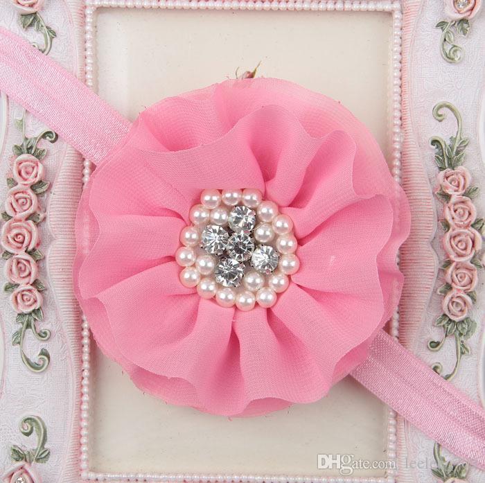 Niños calientes Niños Niños Niñas Perla Diamante gasa flor diadema Banda para el cabello Pieza principal Accesorios es