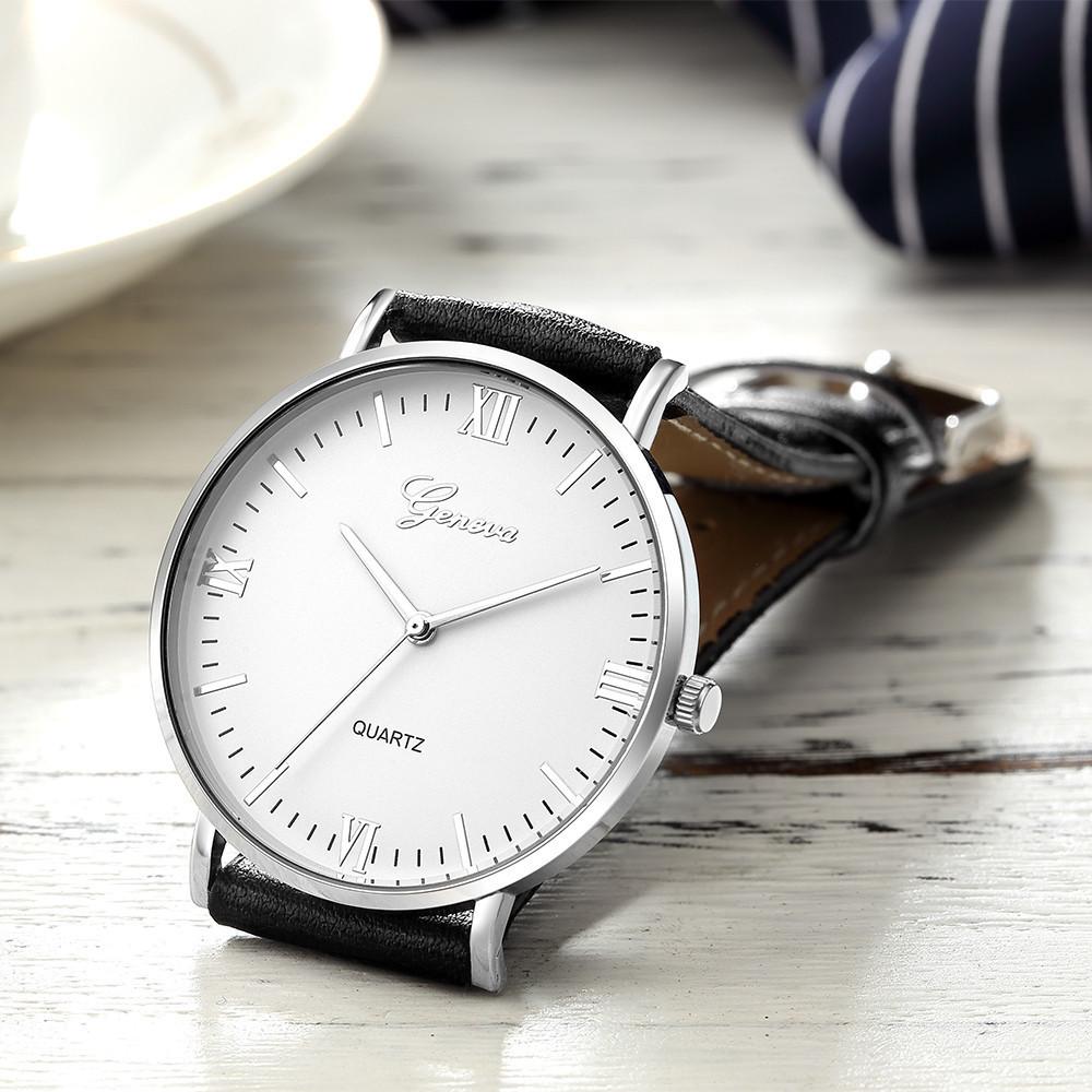 Geneva Classic Hot Luxury Business Unisex Damen Damen Edelstahl Analog Quarz Analog Armbanduhr Großhandel Dropshipping T190619