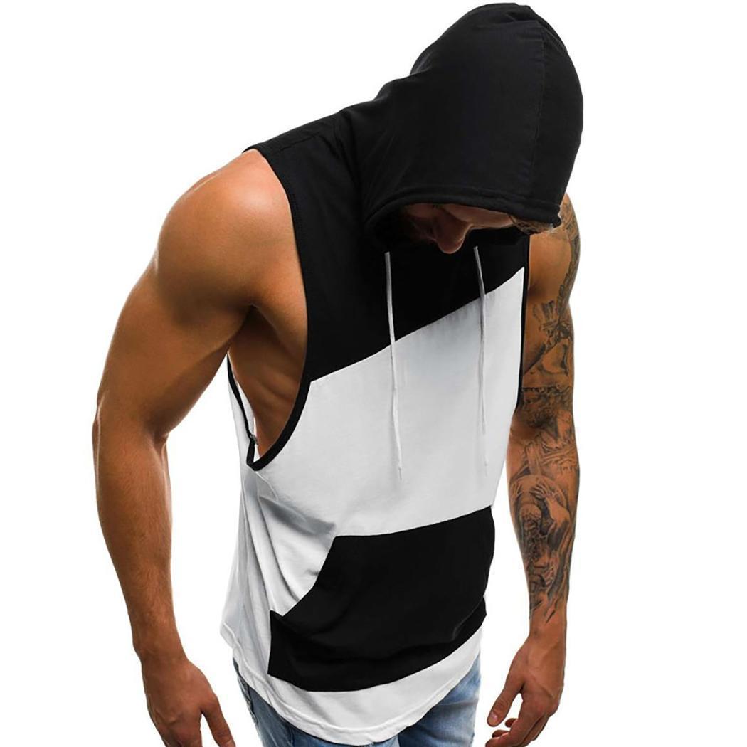 Hombres remiendo del chaleco de la moda sin mangas con capucha Camisetas Casual Top del verano Moda Hombres Camisetas