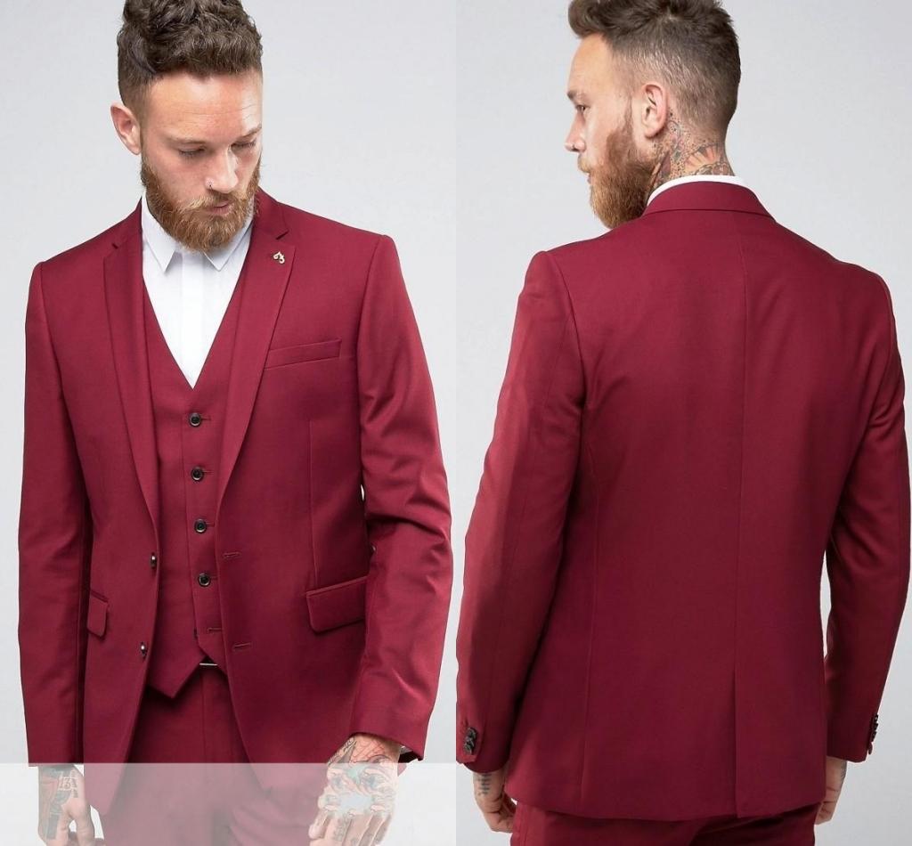 red slim fit bräutigam smoking kerbe revers-center vent groomsmen mens  brautkleider ausgezeichnete mann-anzug (jacket pants vest)