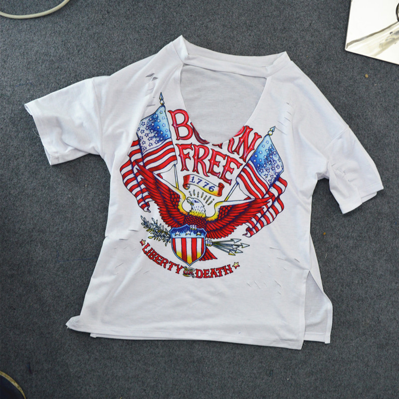 Print Eagle Hole T-Shirt Female Punk Rock Rove Style Sexy Fashion V-Neck Loose Summer Women 2019 White Cotton