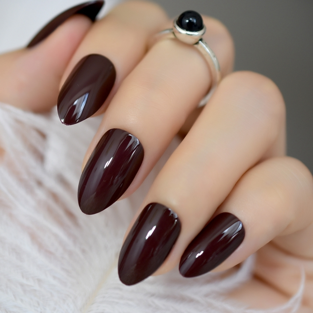 False Short Oval Sharp Solid Dark Brown Fake Nails Brownish-black Pointed Pure Color Uv Gel Almond Wear Full Tips