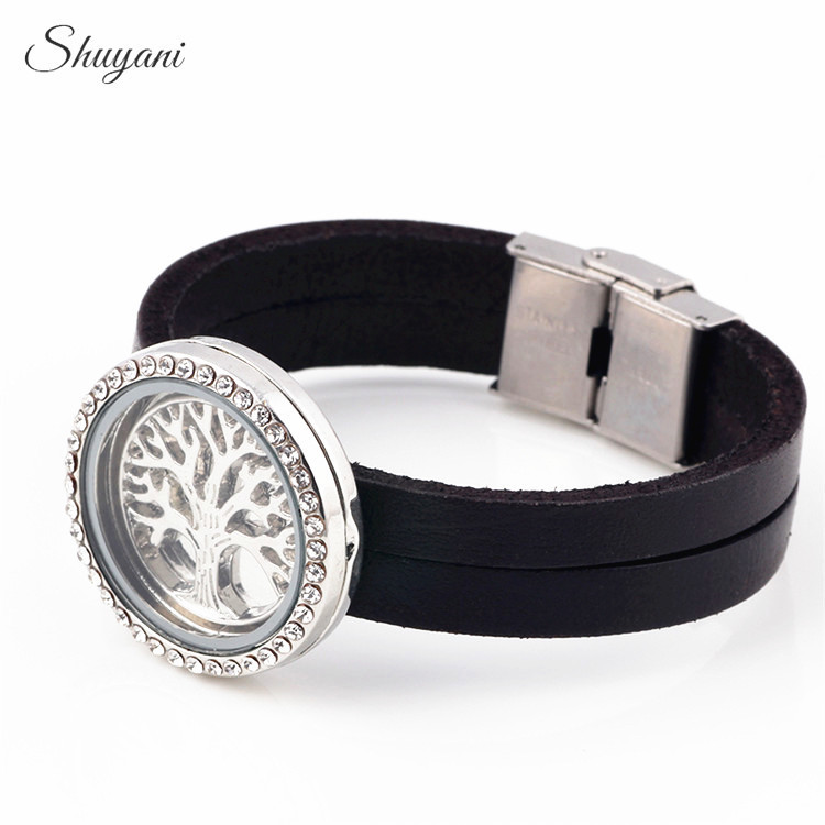 Shuyani-5pcs-lot-Wrap-Openable-Memory-Glass-Locket-Bracelet-for-Charms-30mm-Floating-Locket-Bracelet-Leather
