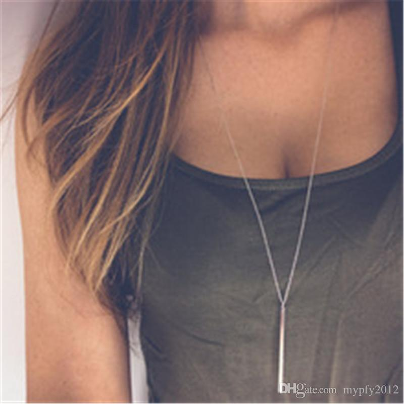 New Fashion Simple Design Silver Gold Color Long Link Chain Bar Pendant Necklaces & Pendants For Women Girls