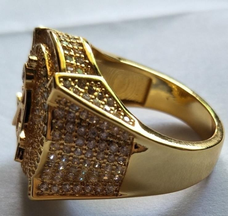 Мужские Белое Золото Заполненные Лаборатории Алмазы 3d Масонское Обручальное Розовое Кольцо Размер 6-13 Y19052201