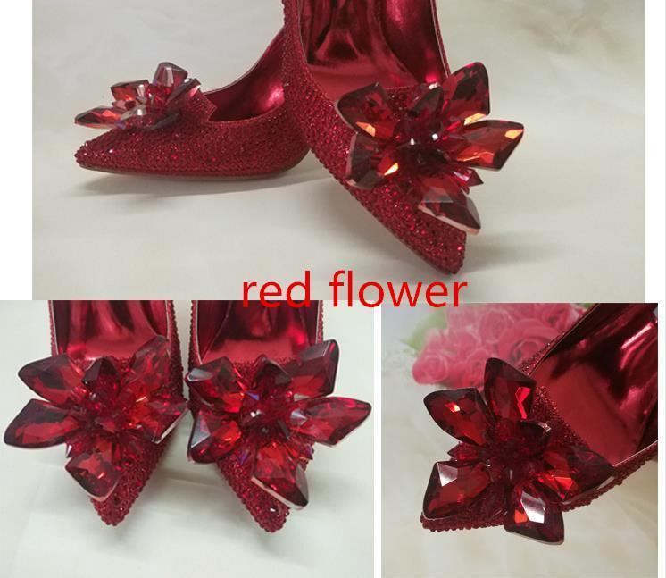 Pop 2019 Top Grade Cinderella Crystal Shoes Bridal Rhinestone Wedding Shoes With Flower Genuine Leather Big Small Size 33 To