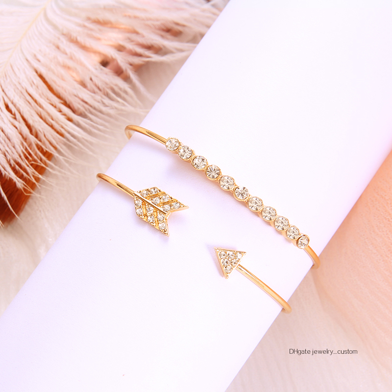 2-unids-set-pulsera-brazalete-Vintage-brazaletes-para-las-mujeres-de-Color-oro-abierto-flecha-anudada (2)