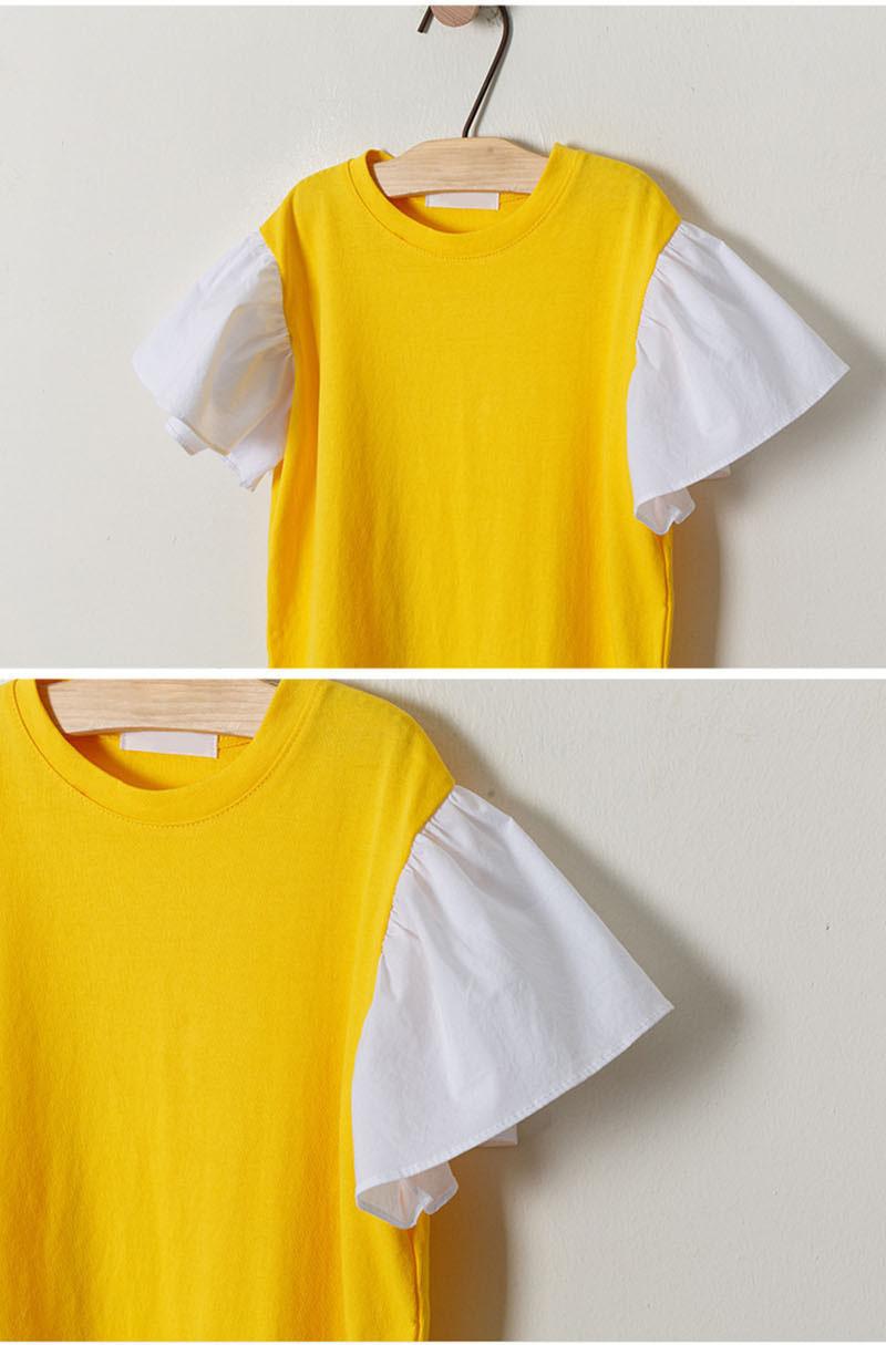 Ruffles Patchwork Little Big Girl Dresses Cotton Summer Yellow Kids Dresses Designs Teenager Children Boutique Clothes 2019 (2)