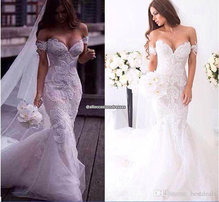 2016 Spring Lace Mermaid Wedding Dresses Dubai Arabic Off-shoulder Sweetheart Full length Backless Court Train Wedding Gown Plus Size BO9176