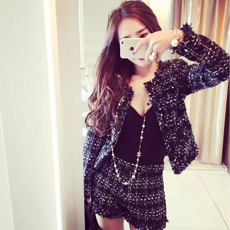 Autumn And Winter New Pattern Korean Lady Of Quality Small Real Two Paper Suit Coarse Tweed Shorts You Loose Coat Short Skirt J190507