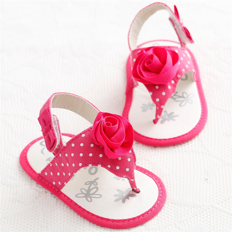 Summer Baby Girls Shoes Toddler Newborn Baby Girls Flower Dot Sandals Soft Sole Anti-slip Shoes Baby Girls Sandals M8Y16 (3)
