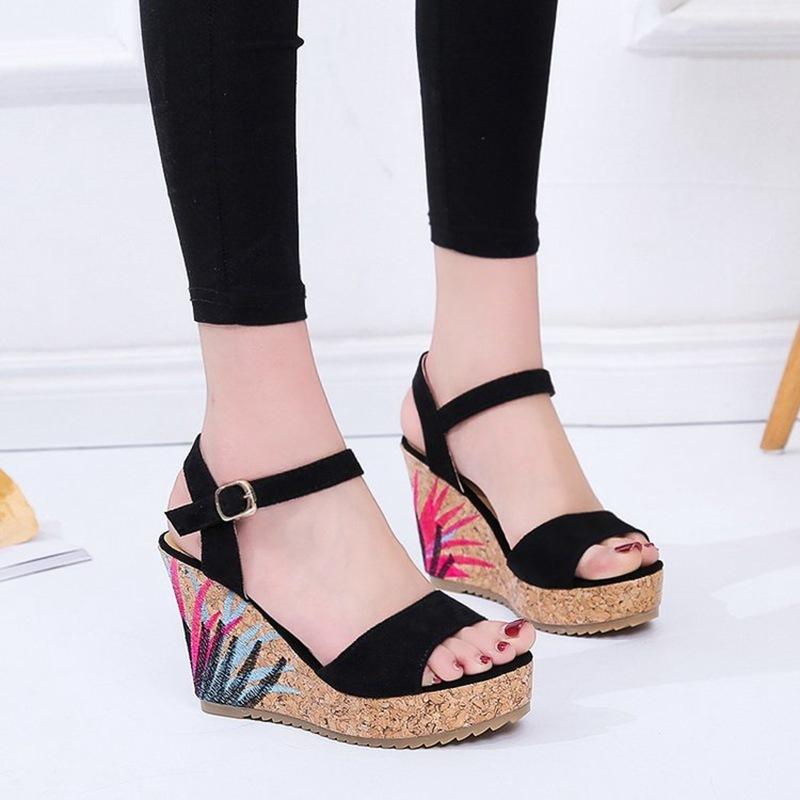 COOTELILI High Heels Women Summer Shoes Women Sandals Summer Shoes Women Open Toe Embroidery Beach Sandals 35-39 (8)