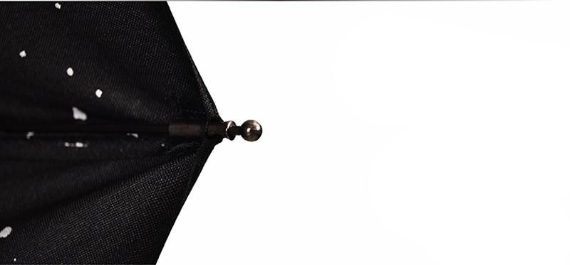 Fashion Black Stars Women Umbrella Three Fold Wind Resistant Anti UV Sun Umbrella Sunny And Rainy Dual-use Male Parasol11