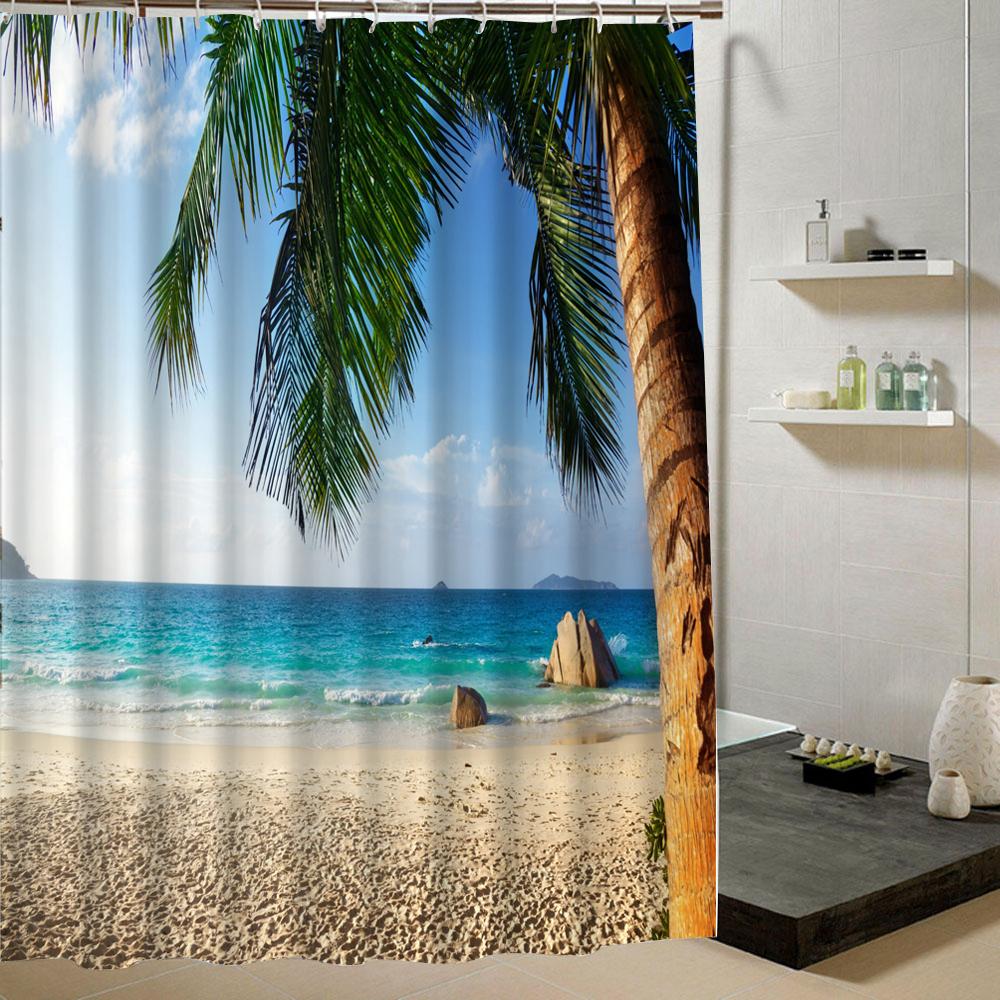 Summer Fresh Beach Shower Curtain Blue Sky Pattern 3d Print Curtain for Bathroom Decor Product Bathroom Curtain Liner Drape C18112201