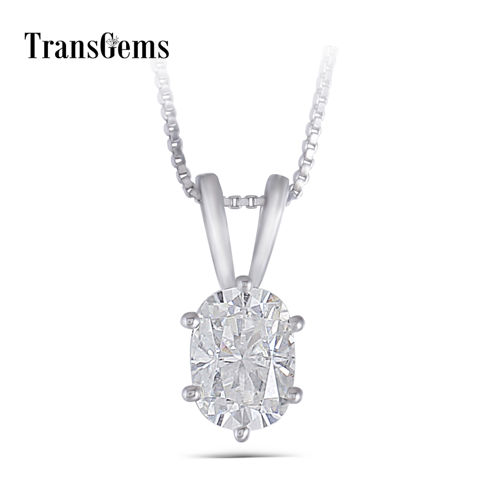 oval moissanite pendant necklace (1
