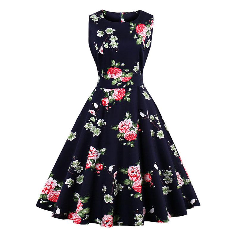 Kostlish 9 Style Print Summer Dress Women 2017 Sleeveless Swing 1950s Hepburn Vintage Tunic Dress Elegant Party Dresses Sundress (14)