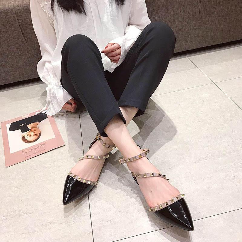 Magical2019 Women's Shoes Sharp Single Shoe Patent Leather Rivet Flat Bottom Sandals