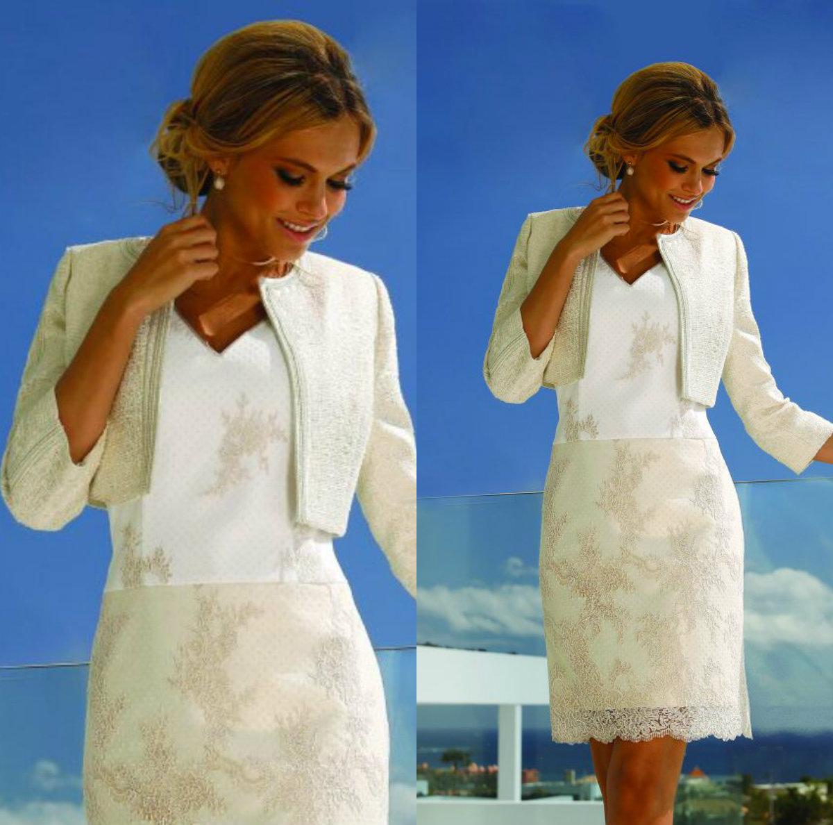 Linea Raffaelli Madre de los vestidos de la novia con la chaqueta con  cuello en V de la envoltura del huésped de la boda Vestidos de 9/9 de manga