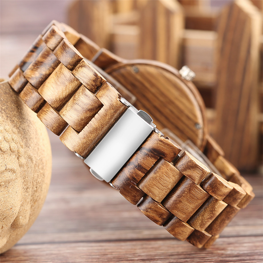 Bamboo zebra wood watch roman numerals dial ladies watch23