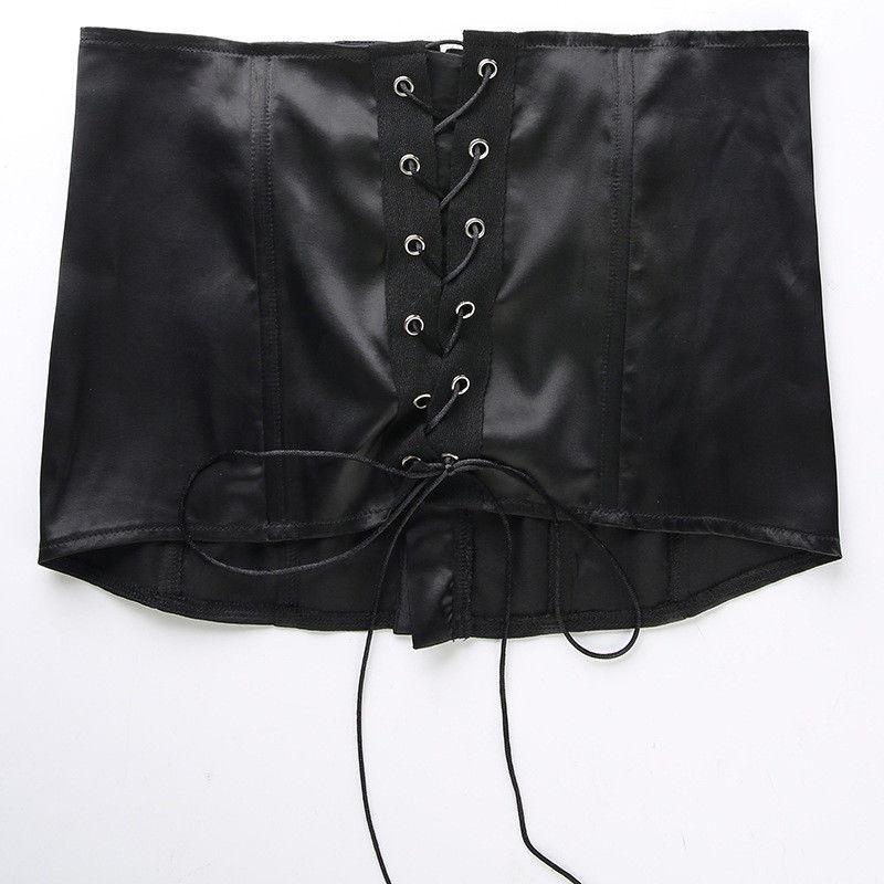 Avrupa Mahkemesi Stil Kadınlar Lace Up Tanklar Moda Yaz Off Omuz Arka Bandaj Kaşkorse Bayan T Gömlek Tees Tops