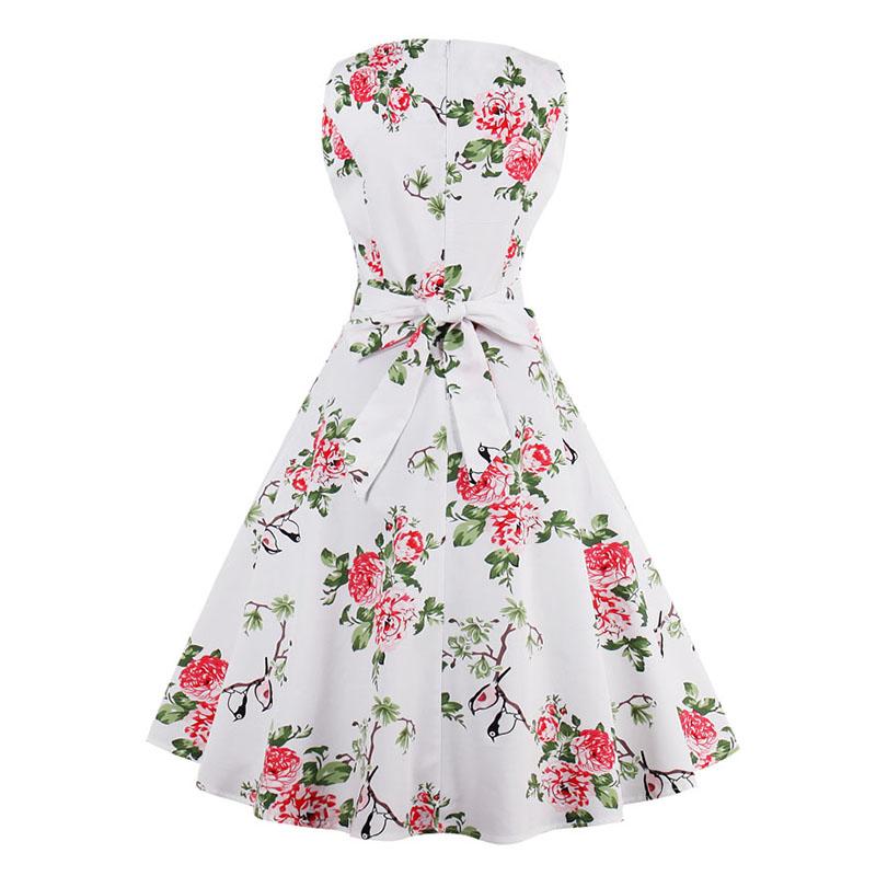 Kostlish 9 Style Print Summer Dress Women 2017 Sleeveless Swing 1950s Hepburn Vintage Tunic Dress Elegant Party Dresses Sundress (26)