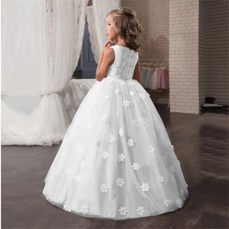 Fancy Flower Long Prom Gowns Teenagers Dresses Girl Children Party Clothing Kids Evening Formal Dress For Bridesmaid Wedding Q190522