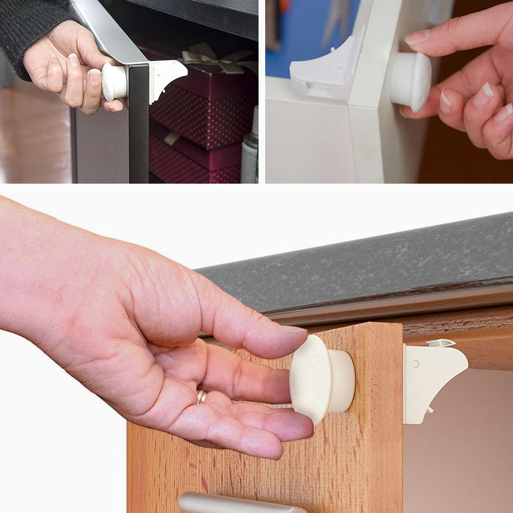 Heart Service 2PCS Kids Safety Lock Latch Finger Protector Adjustable Drawer Cabinet Fridge Extended Lock for Household White