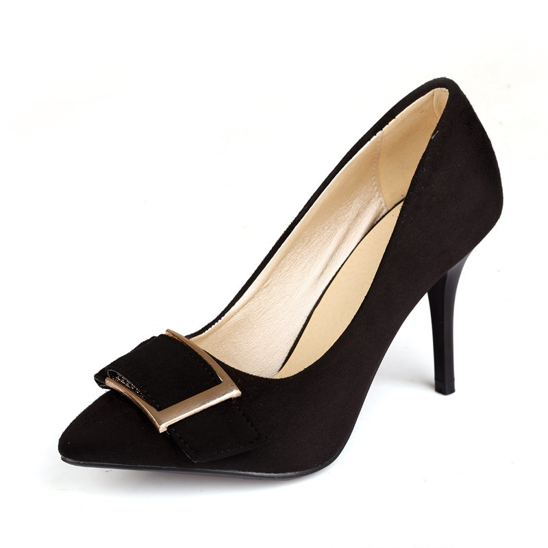 Sexy2019 Woman Shoe Sharp Back Down Metal Square Fine. With High-heeled Shoes Will Code 40-46 For Many Years Living Product X - 5