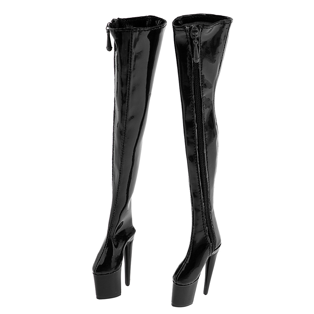 1/6 Female PU Leather Shoes 12inch Action Figure High Heeled Over Knee Long Boots Model Fit Phicen Women Shoes 3Colors