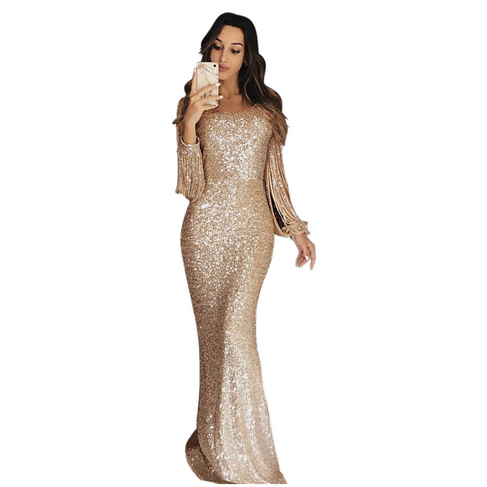 lange abendkleider partei-frauen-qualitäts-troddel sequin kristall  luxuxrhinestone plus size-elegantes kleid xl