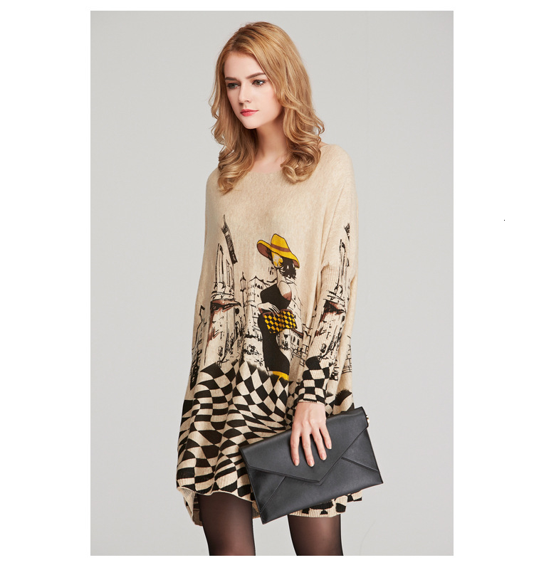 Autumn new European and American women fat mm large size sweater loose was large size printed pullover women (13)