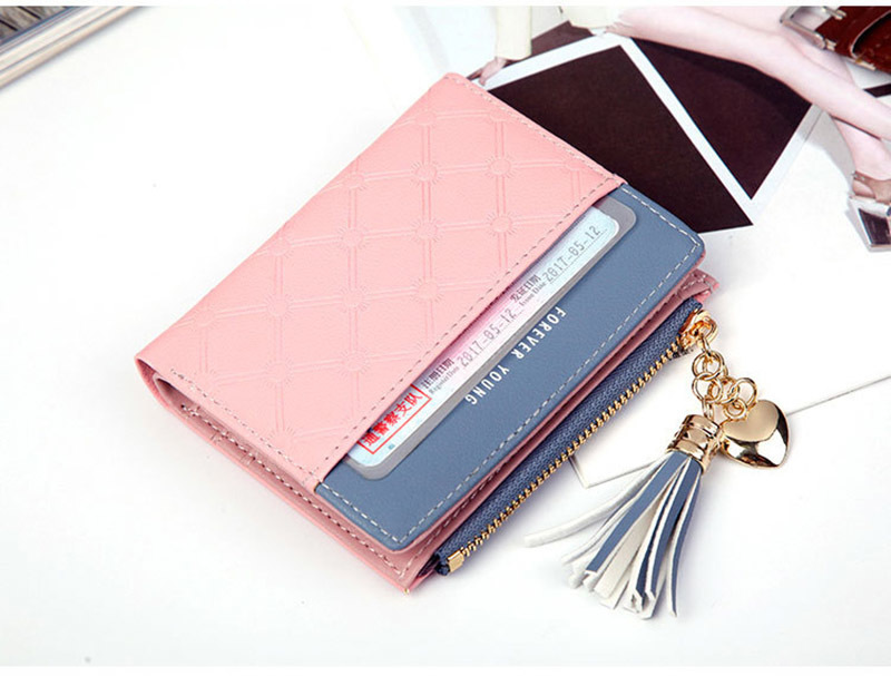 Women Wallet Female Short Paragraph Coin Purse Color Wallet Women Small Fold Wallets Tassel Zipper Button Bag Credit Card Holder (18)