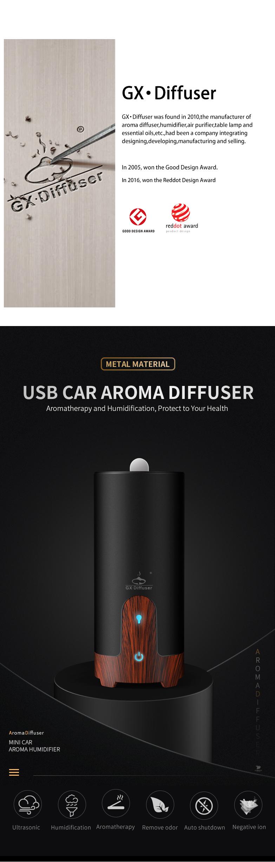 GX.Diffuser Ultrasonic Car Humidifier USB Essential Oil Diffuser Alloy Portable Mini Car Aroma Diffuser Mist Maker with LED Lamp (1)